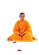 Buddhist monk meditating (thumbnail)
