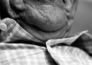 Senior man, close-up of chin, b&amp;w