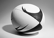 Rugby ball, close-up, b&w