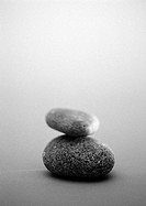 Two pebbles, b&w