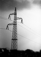 Power line, low angle view, b&w