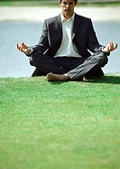 Businessman in lotus position on grass