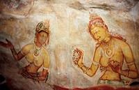 Sigiriya Damsels. 5th century cave frescoes. Sigiriya. Sri Lanka