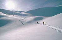 Skiers in McGregor Range in British Columbia. Canada