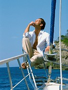 Man on sailing boat
