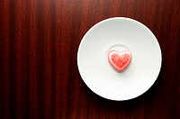 Heart shaped sweet on plate