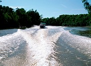 Speedboat on a river