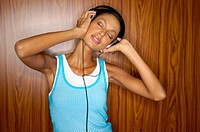 Asian woman wearing headphones