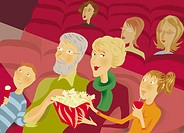 Portrait of a Family in a Cinema Watching a Film