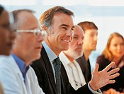 Mature Businessman With Colleagues Listening in a Meeting