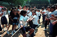A tug-of-war during school sports day, Malaysia