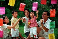 A family playing with lanterns, Malaysia