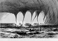 Waterspout, drawing by Th. Weber. Engraving from 'Le tour du monde'