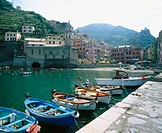 Boats and bay dock. Vernazza. Cinque Terre. Liguria. Italy