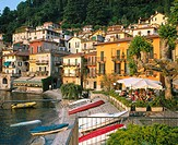 Harbor and restaurant. Varenna. Lake Como. Lombardia. Italy