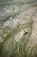 Nad-e Ali in Nimruz Province, Afghanistan. Ruins and tepes, Red and White Hill, supposed to be the oldest on Afghan soil. Abandoned canals in the Sist...