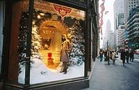 Christmas theme window display. Fifth Avenue, New York City. USA