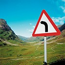 Road sign on a mountain road (thumbnail)