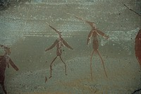 San rock art  depicting  shamans  (witch-doctors). The San people (also known as Bushmen) who painted these pictographs once inhabited all  of  southe...
