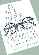 Eye test.  Artwork of folded spectacles on an  eye test chart.  The chart is used to measure how well a person can see. Spectacles (containing lenses ...