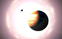 Alien planet.  Computer artwork of  an  alien  gas giant planet and one of its moons. They orbit very close to their star (in the background).  Many  ...