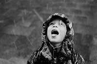 10650029, ausse, blond, jacket, coat, hood, child, girl, portrait, rain, raindrop, bad weather, snow, snowfall, black and whit