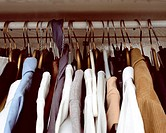 Clothes hanging in cupboard