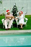 Celebrating Christmas by the swimming pool