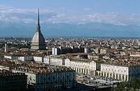 Mole Antonelliana (167,5 m), a symbol of the city of Torino. Piedmont, Italy