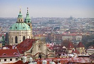 View of Mala Strana (old town) and St. Nicholas Church dome. Prague. Czech Republic