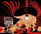 Ü Kunst, Picasso P. 1881 - 1973 ´Bodegon baja la lampara, nature morte sous la lampe´ 53x64 cm farb Linolschnitt KÜNSTLERRECHTE NICHT BEI INTERFOTO !!...
