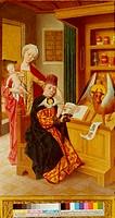Ü  Kunst, Rode, Christian Bernhard, Gemälde ´Lukas malt Maria´, St. Annen - Museum, Lübeck,  18. Jh. Maria mit Kind , Jesus , Schreibpult, heiliger St...