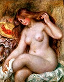 Ü Kunst, Renoir, Auguste (1841 - 1919), Gemälde ´Die blonde Badende´ Kunsthistorisches Museum, Wien  impressionismus, impressionistisch, akt, nackte f...