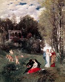 Ü Kunst - Böcklin, Arnold (1827 - 1901),  Gemälde ´Ideale Frühlingslandschaft´, 1871, Schackgalerie, München  schweiz., idealismus, idylle, idyllisch,...