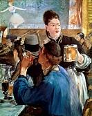 Ü Kunst, Manet, Edouard (1832 - 1883),  Gemälde ´Die Bierkellnerin´ National Gallery, London  franz., impressionismus frau menschen beruf berufe hist....