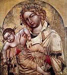 Ü Kunst, Sakralkunst, Maria mit Kind, Ikone, Böhmische Meister aus Strachow, um 1350, Narodni Galerie, Prag religion krone, jesus christus