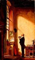 fine arts, Spitzweg, Carl 5.2.1808 _ 23.9.1885, painting, Der Schreiber The Writer, circa 1850, oil on canvas, 38,1 x 22,4 cm, Neue Pinakothek, Munich...
