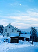 geography / travel, Norway, buildings, residential building, architecture, wood, winter, snow, twilight, light, building, architecture, house,