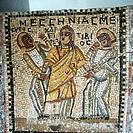 Theater hist.- Antike, Griechenland, Szene einer Komödie v. Menander (342 - um 291 v.Chr.) Mosaik, Lesbos  masken menandros schauspieler hellas
