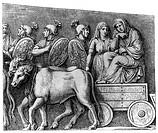 Verkehr hist.- Straße, Kutsche, Antike, Germanischer Wagen mit von Römern gefangenen Frauen, Detail v.d.Siegessäule des Marcus Aurelius, Xylografie mi...