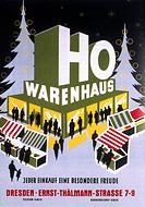 SG hist. Werbung, Handel, Werbeplakat der Handelsorganisation (HO), Warenhaus, Dresden, 1955  wirtschaft, ´jeder einkauf eine besondere freude´, 50er ...