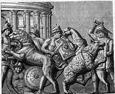 Antike hist.- Römisches Reich, Spiele,  Tierkämpfer (bestiatores) im Kampf mit wilden  Tieren, Stich nach Relief vom Theater des  Marcellus, Rome  Spo...
