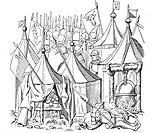 Militär hist.- Schweiz, Feldlager & Fahnenwache,  Zeichnung 19.JH.  nach der Luzerner Chronik von  Diebold Schilling, Luzern 1513   Soldaten, Söldner,...