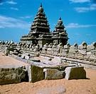 Geografie, Indien, Tamilnadu,  Mahamallapuram, der Ufertempel,  Nandi - Plastiken, Pallava - Dynastie, 7. Jahrhundert  asien, architektur,  nandi = in...
