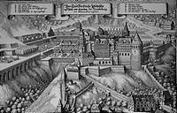 sw Deutschland hist.- Städte, Heidelberg, Schloß,  ansicht von Norden, Kupferstich von Matthäus Merian 17.JH.  Pfalz, Rheinpfalz, kurfürstliche Reside...