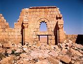 Geo., Jordanien, Al Hamman, Ruine eines Omaijaden-Palast, um 660/750, Detail,  Mauerstück mit Tür  Arabische Architektur, Mauer, hist, Omaijadenreich,...
