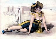 Badewesen hist.- Frau in Badeanzug Postkarte nach farbiger Zeichnung von W.Braun, um 1900  hut