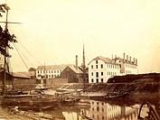 Industrie hist, Metall, Jacobi, Haniel und Huyssen, Schiffswerft in Ruhrort, Foto von Hermann Günther um 1865  Verkehr, Schiffahrt, Werft, boote 19.Jh...