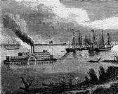 USA hist.- Verkehr, Schiffsverkehr a.d. Mississippi, Xylografie um 1855   schaufelraddampfer, dampfer, fluß
