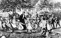 Menschen hist. Kinder, spielen, auf dem Kinderspielplatz in einer Ferienkolonie, Xylographie nach einer Zeichnung von August H. Plinka, Gartenlaube, 1...